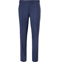 Thom Sweeney Blue Slim Fit Prince Of Wales Checked Stretch Wool Suit Trousers Navy