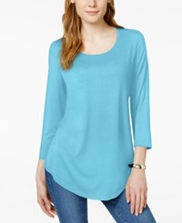 Jm Collection Three Quarter Sleeve Scoop Neck Tunic Top Only At Macy's Turquoise Pool