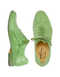 Pakerson Pistachio Green Italian Handmade Leather Lace Up Shoes