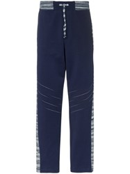 Missoni Drawstring Stripe Trim Track Pants Blue