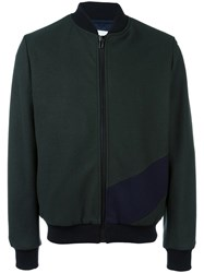 Msgm Back Logo Bomber Jacket Green
