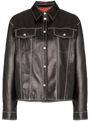 Sjyp Contrast Stitch Western Leather Jacket Black