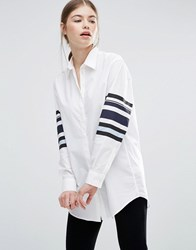 Wood Wood Frankie Shirt With Striped Arms White Stripe