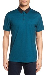 Calibrate Men's Trim Fit Pocket Polo Teal Ocean Melange
