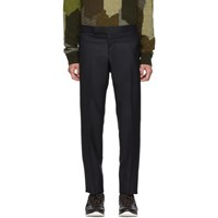 Thom Browne Navy Wool Side Stripe Low Rise Skinny Trousers