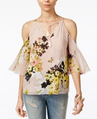 Guess Val Cold Shoulder Peasant Top Pink Sheer