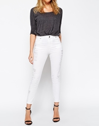 Asos Stretch Skinny Trousers With Distressed Rips White
