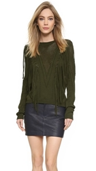 Ronny Kobo Saskia Fringe Sweater Safari Green