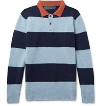 The Elder Statesman Slim Fit Striped Cashmere Sweater Blue