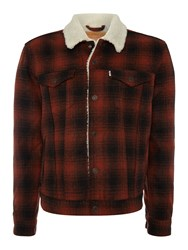 Levi's Type 3 Fleece Lined Plaid Sherpa Jacket Red