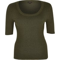 River Island Womens Khaki Ribbed Scoop Neck Top