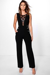Boohoo Plunge Detail Jumpsuit Black