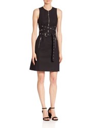 Michael Kors Grommeted Wrap Belt Shift Dress Black