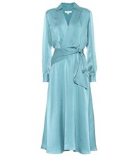 Equipment Vivienne Silk Blend Dress Blue