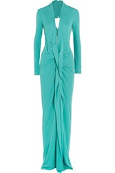 Roland Mouret Compeyson Open Back Stretch Crepe Gown Turquoise