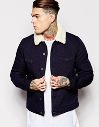 Asos Denim Jacket With Faux Shearling Collar Navy