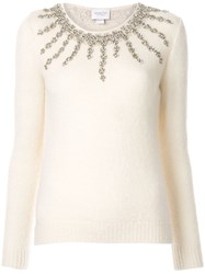 Giambattista Valli Embellished Fitted Sweater White