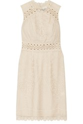 Anna Sui Crochet Trimmed Embroidered Tulle Mini Dress Cream