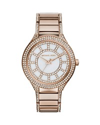 Mid Size Rose Golden Stainless Steel Kerry Three Hand Glitz Watch Michael Kors