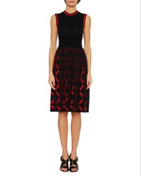Bottega Veneta Sleeveless Knit A Line Dress Blue Red Blue Red