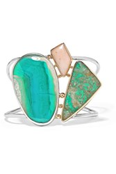 Melissa Joy Manning 14 Karat Yellow And Rose Gold And Sterling Silver Multi Stone Cuff