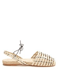 Ball Pages Calada Woven Hemp And Leather Espadrilles Cream Multi
