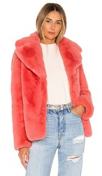 Kendall Kylie Faux Fur Coat In Pink. Coral