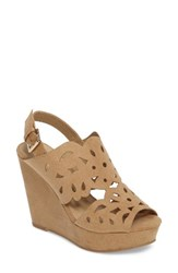 Chinese Laundry Women's In Love Wedge Sandal Light Camel Suede