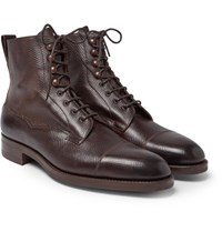 Edward Green Galway Cap Toe Full Grain Leather Boots Brown
