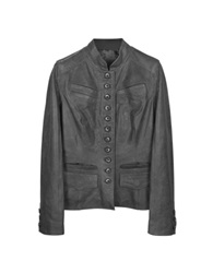 Forzieri Black Mandarin Collar Leather Jacket