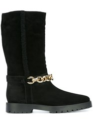 Burberry Chain Embellished Boots Black
