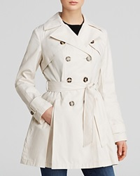 Laundry By Shelli Segal Coat Double Breasted Button Front Trench Vanilla