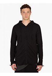 Thom Krom Black Raw Edge Cotton Hooded Sweatshirt
