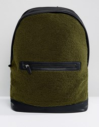 Asos Backpack In Khaki Borg With Faux Leather Trims Khaki Green
