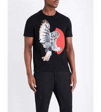 Neil Barrett Owl Print Cotton T Shirt Blk Red