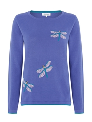 Tulchan Dragonfly Intarsia Jumper Purple