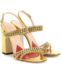 Gucci Crystal Metallic Leather Sandals Gold
