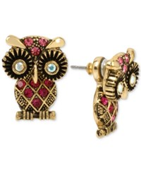 Betsey Johnson Gold Tone Pink Pave Owl Earring Jackets
