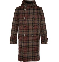 Barena Hooded Double Breasted Boiled Wool Coat Gray