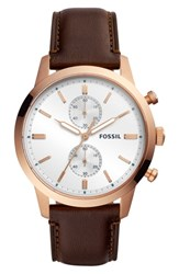 Fossil Townsman Chronograph Leather Strap Watch 44Mm Brown White Rose Gold