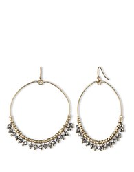 Lonna And Lilly Goldtone Drop Hoop Earrings With Dangling Beads