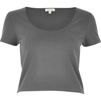 River Island Womens Grey Scoop Neck Crop Top