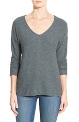 Petite Women's Gibson 'Yummy Fleece' High Low V Neck Pullover