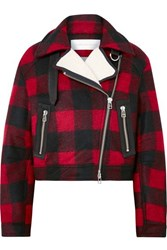 Veronica Beard Benni Leather And Faux Shearling Trimmed Checked Felt Jacket Red