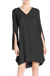 Chelsea 28 Women's Chelsea28 Bell Sleeve Chiffon A Line Dress Black