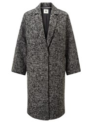 John Lewis Kin By Shawl Collar Herringbone Coat Black White