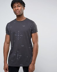 Asos Longline T Shirt With Tonal Aztec All Over Print And Roll Sleeve Anthracite Grey
