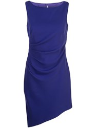 Milly Ruched Asymmetric Dress Blue