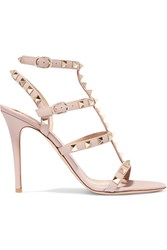 Valentino Rockstud Embellished Leather Sandals Blush
