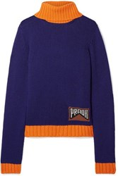 Prada Intarsia Cashmere Blend Turtleneck Sweater Indigo